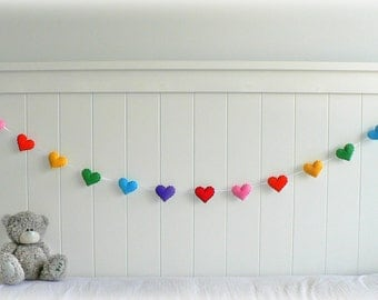 Rainbow felt heart garland - nursery decor - MADE TO ORDER