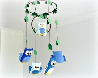 Owl mobile - woodland mobile - baby mobile - blue, green and brown - nursery decor - MADE TO ORDER