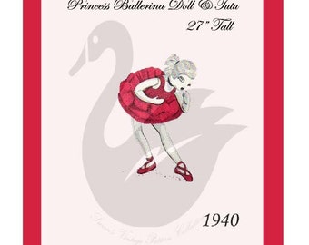 "Reproduction 27"" Miss Ballerina Doll & Tutu Sewing Pattern"