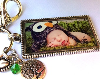 Photo Keychain, Birthstones and Large Photo frame, charms and crystal,