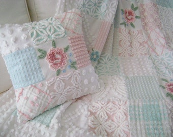 SAMPLE ~ Vintage Chenille 'Cabbage Roses' Throw / Lap Quilt - Pinks, Aquas, Whites