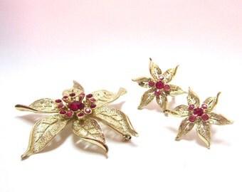 Vintage Gold Pin Matching Earring Set Gold Ruby Flower Brooch Matching Gold Ruby Earrings Lapel Hat Pin Large Gold Red Pin Earring Set
