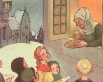 Antique Color Illustration 1940 Colored Print Children's Spiritual Print Home Nursery Decor  Sing in Praise Book Print Marjorie Torrey Print