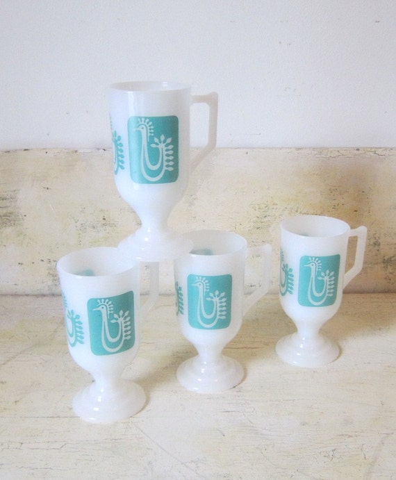 On Sale Midcentury Modern Coffee Mugs Teal Aqua By