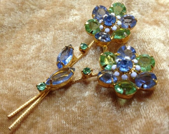 Mid Century Double Flower Rhinestone Pin with Open Back Rhinestones Blue & Green Rhinestone Flower Brooch Floral Rhinestone Pin