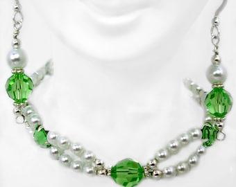 Swarovski Peridot and Pearl Bracelet  SET, Prom, Bridal, Pageant Wear