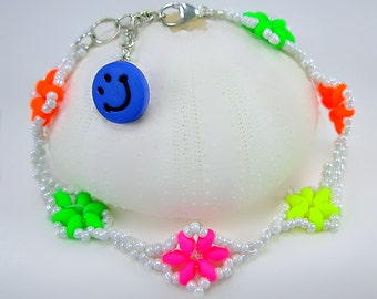 Women teen gift, Neon Flowers Bracelet, Green, Hot Pink, Orange, Blue, fun, unique, under 15 gift, bright colorful jewelry