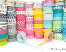 Pick 10 Whole Rolls of Assorted Washi Tapes: 158 Patterns