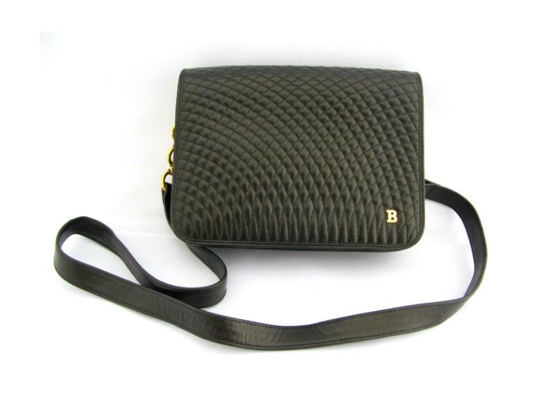 Bally Vintage Quilted Black Leather Shoulder Bag