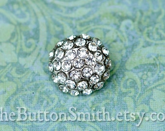 """Rhinestone Buttons """"Holly"""" (18mm) RS-057 in Clear - 5 piece set"""