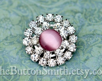 Rhinestone Buttons -Lucy- (25mm) RS-040 - 5 piece set
