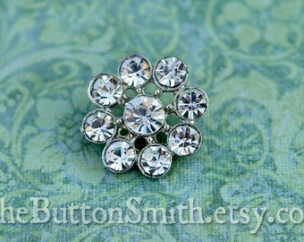 5 to 20 Pieces Crystal Rhinestone Button Round (18mm) RS-002- Sliver finish Perfect for weddings, brooch, invitations, hair pins, pillows