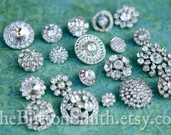 Rhinestone Buttons Mix - Round Collection - 106 - 20 piece set