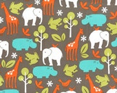 Flannel fabric for quilt or craft, Michael Miller, Zoology in Dirt, fat quarter