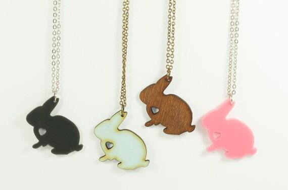 Bunny Love - Bunny Rabbit Necklace - Handmade - laser cut - laser cut jewelry