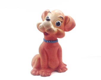 Vintage big RUBBER TOY DOG, his name is Yuriy. Use him for shadow boxes, mixed media, home decor...