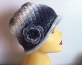 Winter Cloche Women Hat In Grey, Womens Hat With Flower, USA seller