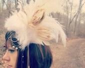 Custom Order for Elena- My Head Is An Animal Arctic Fox Headdress Headpiece Tribal Goddess
