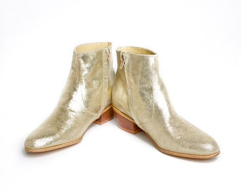 golden glitter beatle boots  - FREE SHIPPING
