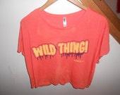 SALE NBella Kill Brand splatter bleach cropped orange shirt Wild Thing sz S M oversized Tshirt Upcycled
