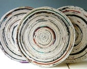 Upcycled eco friendly rolled paper coasters-set of 4-