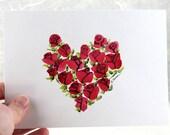Heart of Roses Original watercolor Illustration