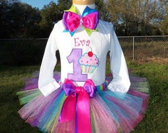 Cupcake Birthday Outfit with cherry on top includes shirt, tutu, and hair bow-PERSONALIZED