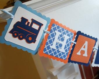 Train Happy Birthday Banner, Train Party, Train Birthday, Train Theme, Choo Choo, Chugga Chugga, Navy Orange Blue