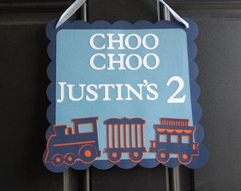 Train Door Sign,  Train Welcome Sign, Train Birthday, Chugga Chugga, Navy, Orange, Blue, Navy Train