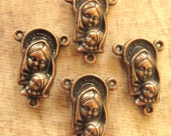 Antique Copper Mother and Child and Sacred Heart of Jesus Rosary Centerpieces/Reversible - set of 4