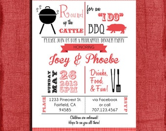 "Printable ""I Do"" BBQ Retro inspired Barbecue Couples Wedding Shower or Dinner Rehearsal 4x6 or 5x7 Invitation-DIY"
