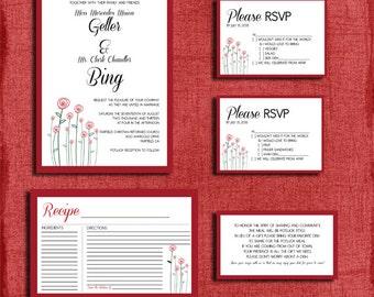 Printable Modern Rose Potluck Style Wedding Invitation Set- Includes: Invitation, RSVP Card, Information Card, & Recipe Card-DIY