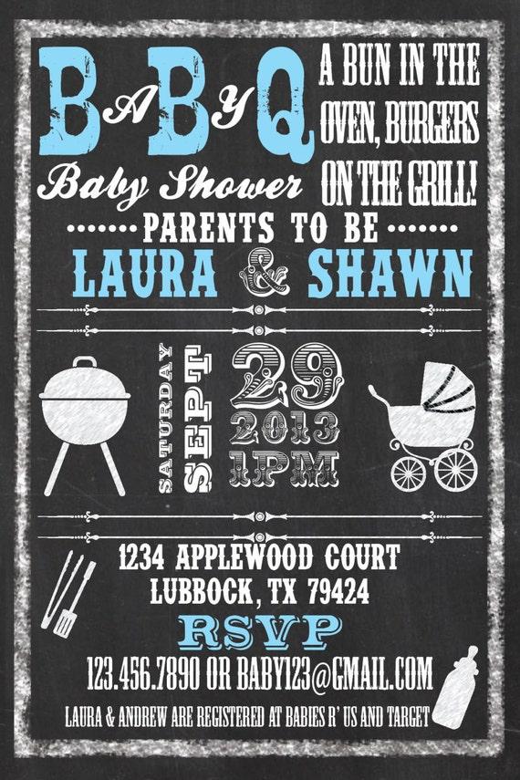 chalkboard baby q | etsy, Baby shower invitations