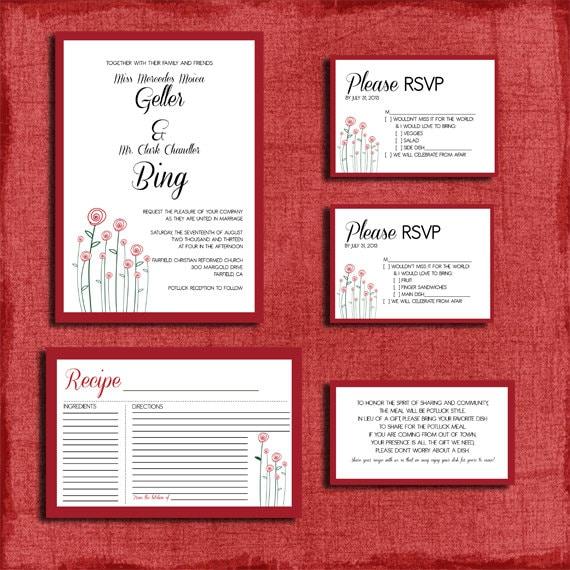 Printable Modern Rose Potluck Style Wedding Invitation Set