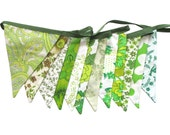 Vintage Retro Pretty Eco - Green Multi Floral Flag Bunting. Shop or Market Stall Decoration, Birthday Parties, Garden Party, Wedding etc