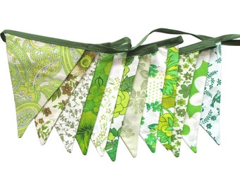 Vintage Retro Pretty Eco - Green Multi Floral Flag Bunting. Shop or Market Stall Decoration, Birthday Parties, Garden Party, Wedding etc