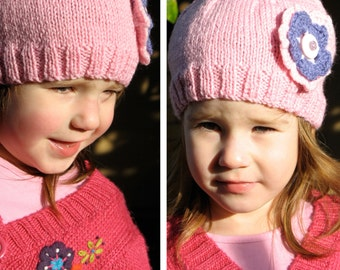 Girls Retro Handmade Pink Knitted Wool Beanie Hat with Flower & Buttons . Gift Idea . OOAK . Size - Age: 4 5 6 7 . Made in Australia