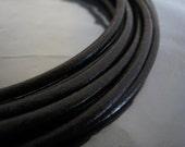 1 Yard of 4mm Black Genuine Round Leather Cord