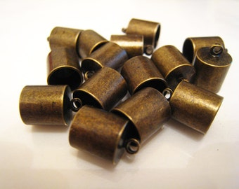 Finding - 6 pcs Antique Brass Leather Cord End Cap with Loop For Round Leathers 12.5mm x 9mm ( inside 8mm Diameter )