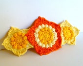 Crochet Barrette Three Flowers Extra Large in Yellow Goldenrod and Orange