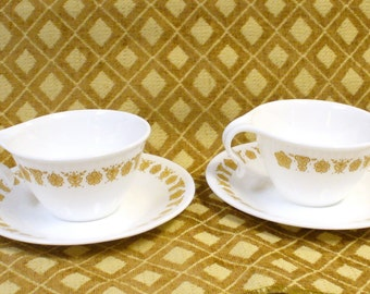 2 Hook Coffee Cups Saucers Butterfly Gold Corelle Corning Ware Vintage White Gold Retro 1970