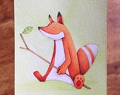 Little Fox Aceo original OOAK mini art - thecurioustreehouse