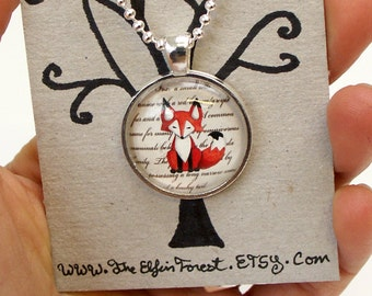 Fox Necklace Glass Art Pendant with Chain red fox orange