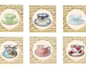 Tea Party, Printable Tea Cup Toppers, Instant download Tags, Vintage Tea Party, Digital collage, Tags, Cards, Craft supplies, bridal shower