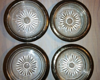 Silver plate glass coasters, silver candleholders