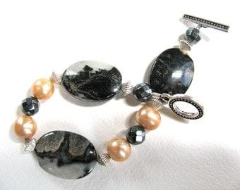 Silver Leaf Jasper, Fresh Water Pearls, Sterling silver, beaded bracelet, gemstones 013
