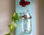 Hand Painted Butterfly Baby Blue Mason Jar Wall Planter / Wall Decor / Pen Orgnizer