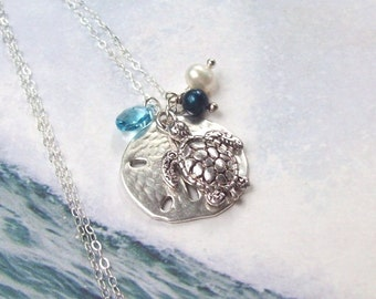 Sea Turtle Necklace, Sand Dollar Necklace, Silver Tropical Necklace, sterling silver, aqua, freshwater pearl, Swarovski crystal, nautical
