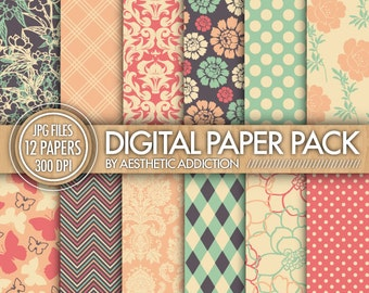 Gray Pink Green Paper Pack - 12 Printable Digital Scrapbooking Papers - 12 x 12 - 300 DPI - Commercial Use - 12484