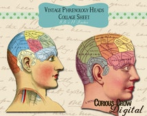 Vintage Phrenology Heads Digital Collage Sheet -  INSTANT Printable Download